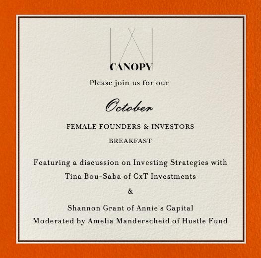 Female Founders and Investors Breakfast